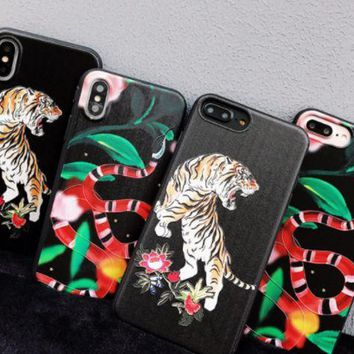Gucci tiger snake iPhone6S mobile phone shell iPhone7plus big-name Gucci couple protection set 8