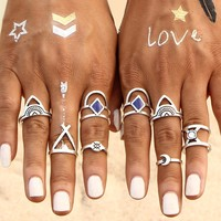 Hollow Out Etched Ring Set