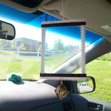 Rearview mirror picture frame one of a kind double sided holds 2 pictures dangle leopard print charm and hangs with elastic hanger