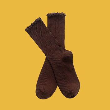 Princess Lulu Ruffle Socks | Brown