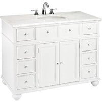 "Hampton Bay 44""W Single Sink Cabinet with White Granite Top - Sink Cabinets - Bathroom Vanities - Bath 