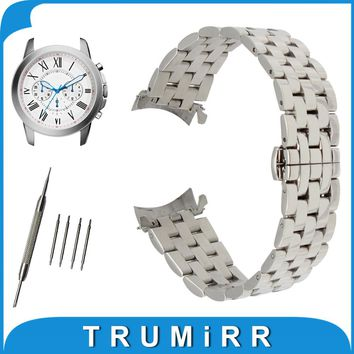 18mm 20mm 22mm 24mm Stainless Steel Watch Band Curved End Strap + Tool for Fossil Watchband Butterfly Buckle Wrist Belt Bracelet