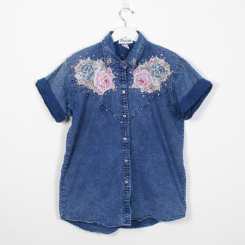Vintage 80s Acid Wash Denim Shirt Silver Embroidered Floral Studded Blue Chambray Shirt 1980s New Wave Button Down Hipster Shirt S M Medium
