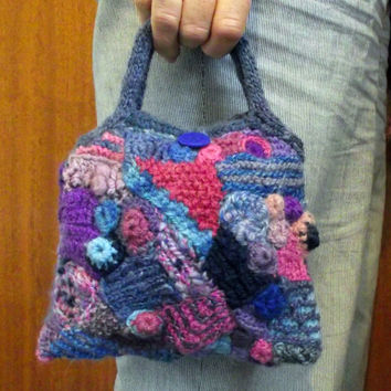 Freeform Knit Lined Handbag Purse, Freeform Knit Crochet Bag, Handspun Knitted Crochet Freeform Bag, OOAK Pink Blue Purple Pink Mauve Lilac