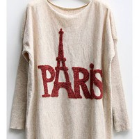 OASAP - Batwing Sleeves Jumper with Paris Eiffel Tower Print - Street Fashion Store