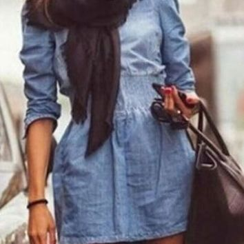Streetstyle  Casual Blue Plain Pockets Zipper Long Sleeve Denim Dress