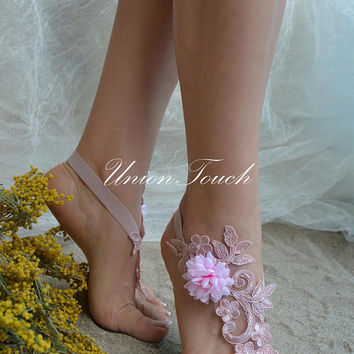 beach wedding barefoot sandals lace barefoot sandals wedding barefoot sandals barefoot sandals wedding beach wedding shoes pink ivory whaite