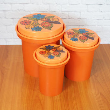 Retro 1970s Flower Power Orange Nesting Canisters by Rubbermaid / Set of 3