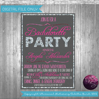 "Bachelorette Party ""Silver Sparkle"" Invitation Collection (Printable File Only) Silver Glitter Hot Pink Invite Bach Party"