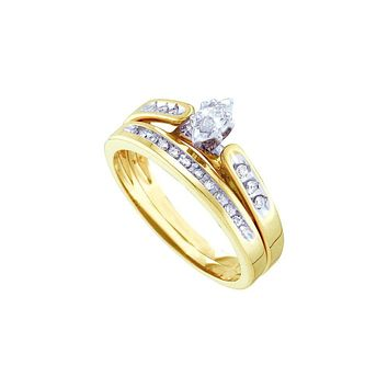 14kt Yellow Gold Womens Marquise Diamond Bridal Wedding Engagement Ring Band Set 1/5 Cttw