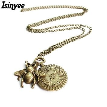 Fashion Small Honey Bee Pendant Necklace For Women