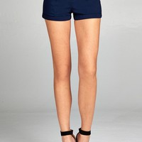 Ladies fashion belted bengaline short pants