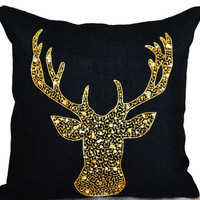 Deer Pillows - Animal pillow with stag embroidered in gold sequin -Burlap pillows -Gold deer pillows - Gold pillows- Christmas pillows 18x18