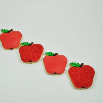 Apples -  Autumn Cookies - Decorated Iced Sugar Cookies - Fall - Forest - Half a Dozen
