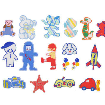 Children's Sew-On Patches • Vintage Kid Motifs • Collection of Vintage Sewing Patches • 1970s Appliques • Retro Fun Kid Characters