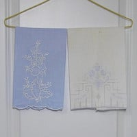 2 Vintage 1960s Handkechief Linen Hand or Guest Towels in Blue and White with Hand Embroidery & Cutwork