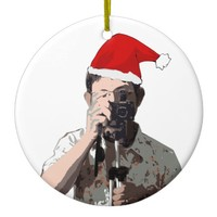 Holiday Photographer Ceramic Ornament