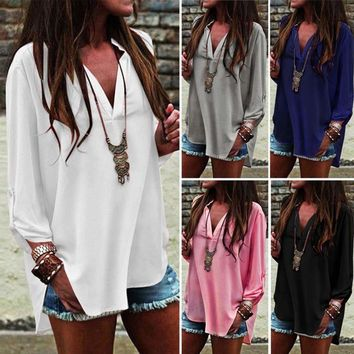 Womens V Neck Long Sleeve Chiffon Blouse
