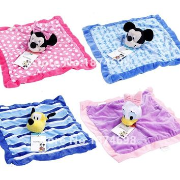 New Mickey Minnie Daisy Duck Pluto Dog Plush Blankie for Baby Toy Newborn Reassure Towel Snuggle Blanket Kids Girls Boys 30*30cm
