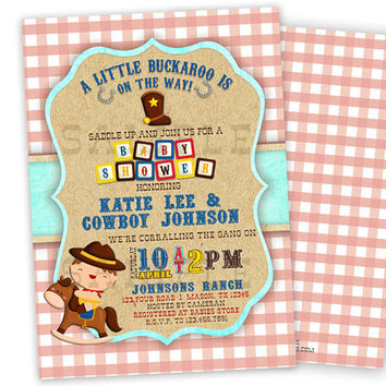 Lil Buckaroo Cowboy Baby Shower Invitation - Boy Baby Shower Invites - Its a Boy - Little Cowboy Man - Western Baby Shower Ideas Gingham Red