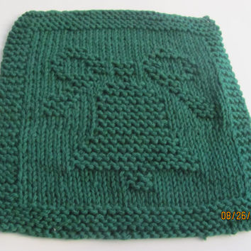 Knit Dishcloth, Christmas Bell, Washcloth, 100% Cotton, Green, Christmas Gift, Wedding, Party Favors, Hand Knit, Kitchen Dish Rag, Houseware