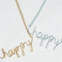 BOGO Buy 1 Gold Get 1 Silver Necklace HAPPY Wire Script Necklace, Wire Script, Customized Jewelry, Personalized Necklace, Vintage DIY Gift