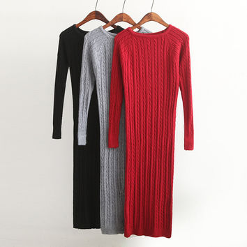 New Twist Women long sweater dress 2017 spring sexy slim Bodycon Dresses Elastic Skinny Split Dress Brief Knitted Dress vestidos