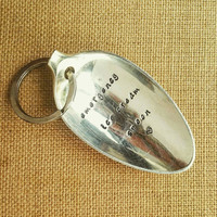 Personalised Keyring / Emergency Ice Cream Spoon / Spoon Keyring  / Engraved Spoon / Hand Stamped Cutlery / Vintage Upcycled Keyring