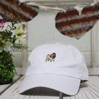 PUG Baseball Hat Curved Bill Low Profile Embroidered Baseball Caps Dad Hats White