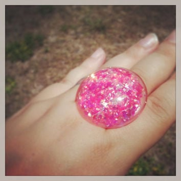 "Handmade  ""PrismGem"" Hot Pink Glitter Loaded Large Resin Dome Bubble Adjustable Ring Made to Order"