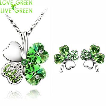 2017 Austrian Crystal rhinestones Clover 4 four Leaf  White Gold Plate green crystsal Necklace Earrings Jewelry Sets 9554