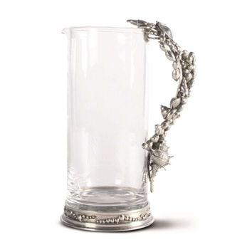 Glass Pitcher Pewter Marine Life Handle