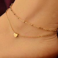 1PC Sexy Gold Tone Love Heart Ankle Bracelet Double Layer Chain Foot Anklet