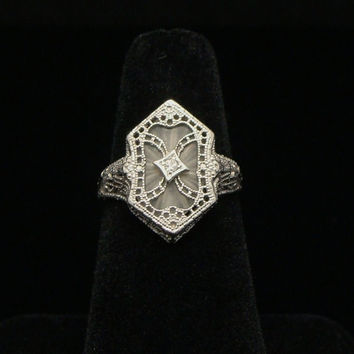 White Gold Camphor Glass Ring Size 6 10K Gold ESENCO Diamond Ring Antique Ring Edwardian Ring Art Deco Estate Jewelry Vintage Ring Ring