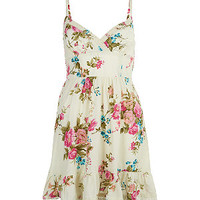 Cream Floral Strappy Sun Dress