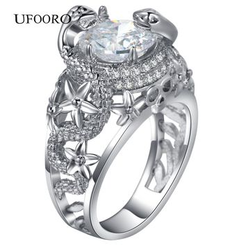 UFOORO Fashion jewelry silver-color Double snake wound Ring Zircon Ring Punk Rock Jewelry Domineering Cool brand design Rings