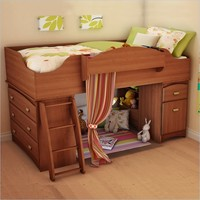 South Shore Imagine Kids Loft Bed 4 Piece Bedroom Set in Morgan Cherry Finish - 3576A3-4PKG