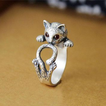 SMJEL Summer Style Hippie Vintage Anel Punk Kitty Wedding Ring Boho Chic Knuckle Animal Cat Rings For Women Fine Jewelry R337