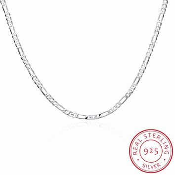 "925 Sterling Silver Slim Figaro Chain Necklace Women Girl 45cm 18"" Fine Jewelry kolye collares collane collier ketting sieraden"