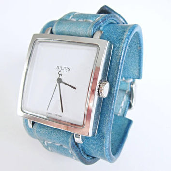 Turquoise Watch Women, wrist watch, Leather watch cuff