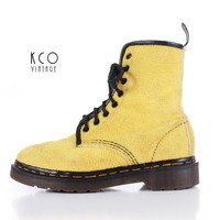 Vintage Dr Martens Yellow Terry Cloth 8 Eye Docs Made in England 1990's Punk Grunge Women's Size US 5 UK 3 - 8.5