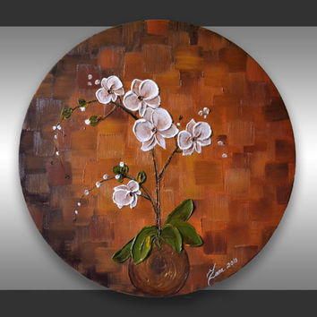 "ORIGINAL Contemporary Heavy Impasto Texture Orchid Painting - Abstract  Floral Art 20"" Round Canvas Palette Knife Artwork"