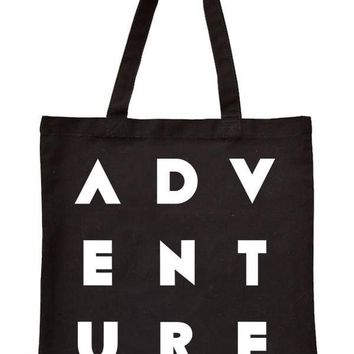 ADVENTURE Printed Canvas Tote Bag