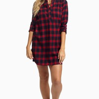 Navy-Red-Plaid-Flannel-Maternity-Dress/Tunic