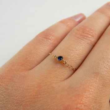 Dainty gold stackable chain ring royal blue cz diamond cubic zirconia crystal