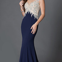 Illusion Open Back Long Sleeveless Prom Dress