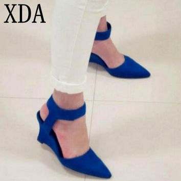 XDA 2017 Women Wedges Fashion Brand Ankle Pointed Toe Pumps Sexy Sandals High Heels Bl