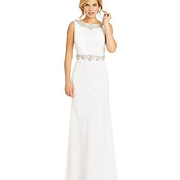 JS Collections Beaded Back-Sash Crepe Gown | Dillards.com