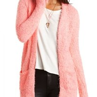 Fuzzy Popcorn Knit Cardigan Sweater by Charlotte Russe - Neon Coral