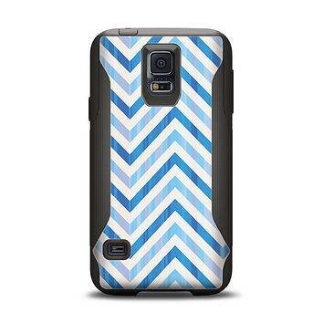 The Vintage Blue Striped Chevron Pattern V4 Samsung Galaxy S5 Otterbox Commuter Case Skin Set